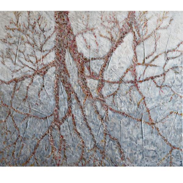 River Reflection, mixed media painting by Sally Kirk, artist on Dartmoor, @Salkirkart