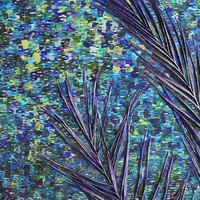 The Sea is Blue, mixed media painting, by Sally Kirk artist, @salkirkart