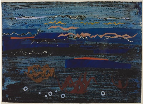 1961 Coast of Britanny II by John Piper – Gouache and collage on Paper