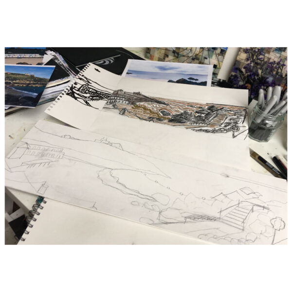 Artwork in progress using sketches to develop a mixed media piece by Sally Kirk