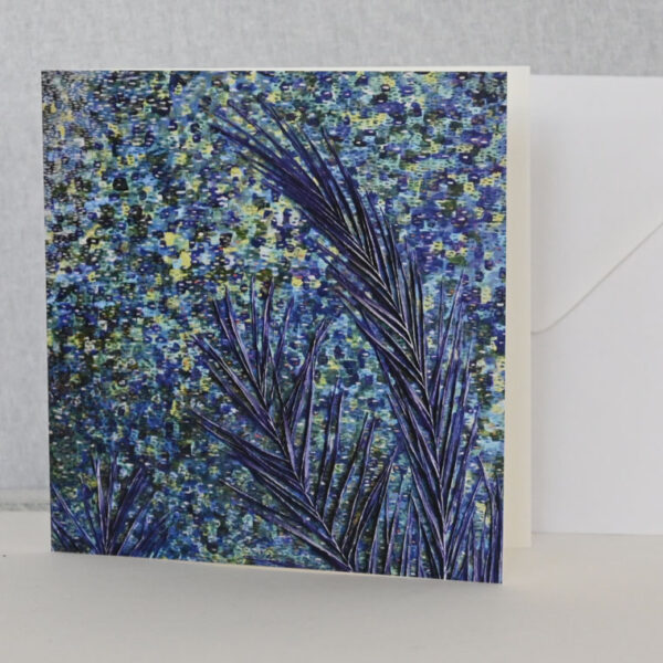 The Sea is Blue by Sally Kirk, art card and envelope